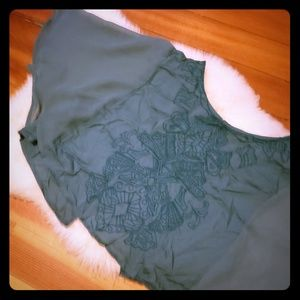 Embroidered Sage Green Urban Outfitters Crop Top